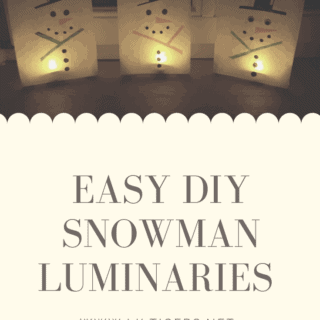 Easy Flame Free DIY Snowman Luminaries for Kids