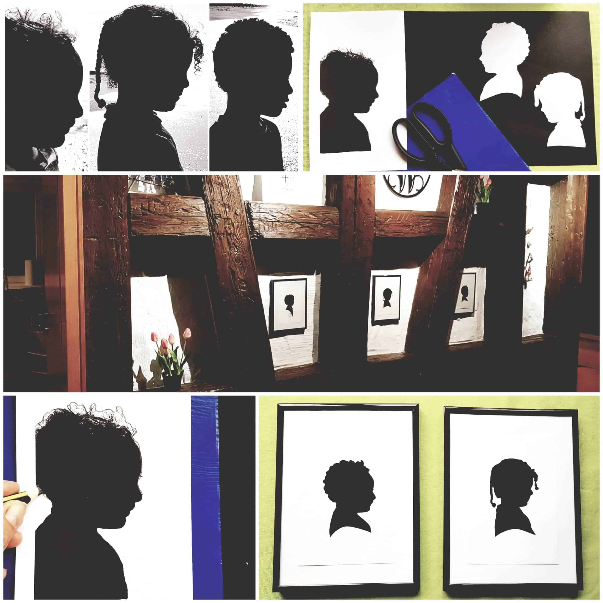 DIY kids silhouette picture instructions