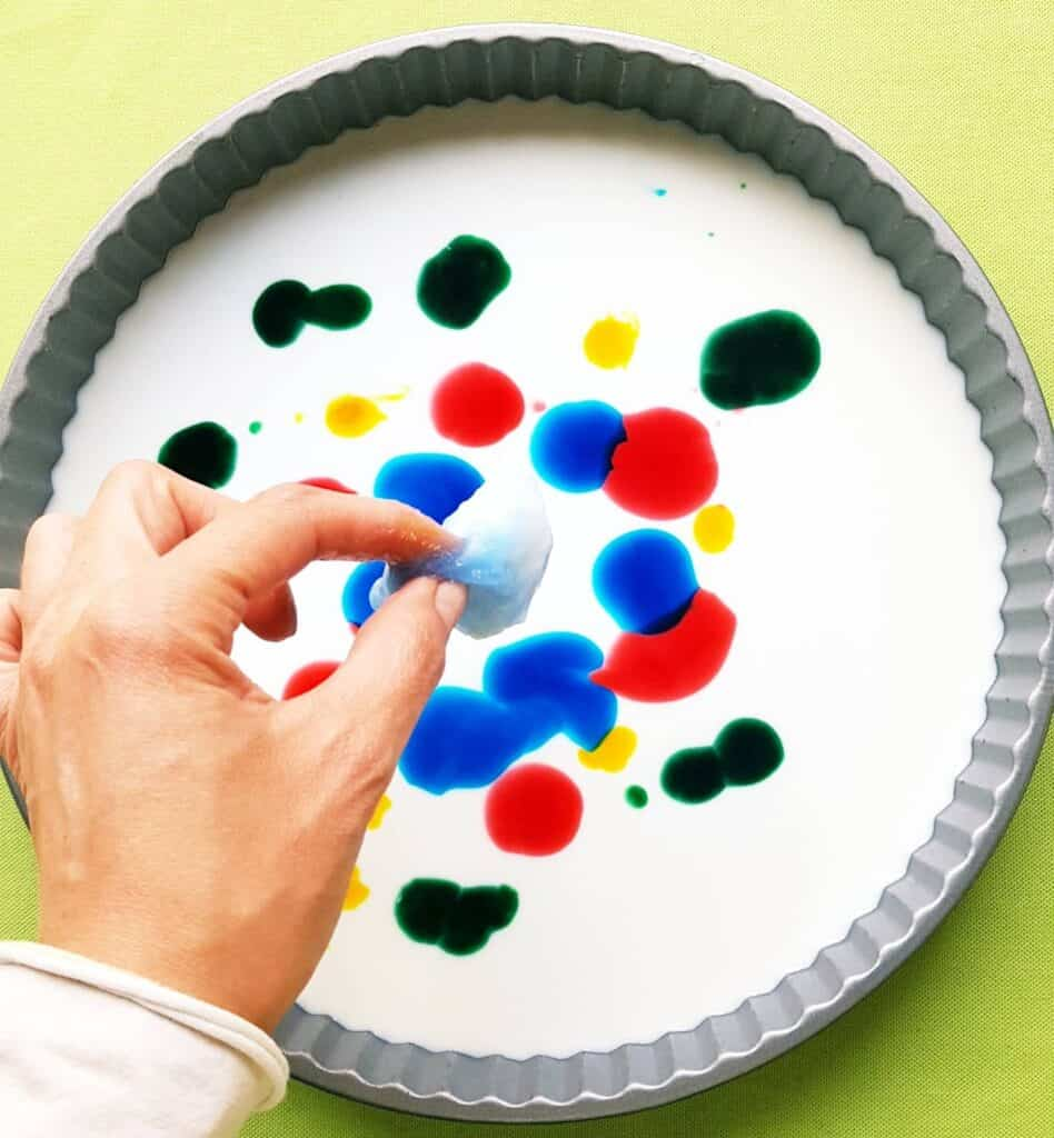 Milk, Food Coloring, and Dish Soap Experiment for Kids