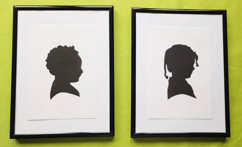 DIY kids silhouette framed