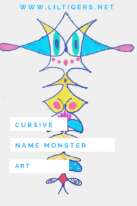 cursive name monster art