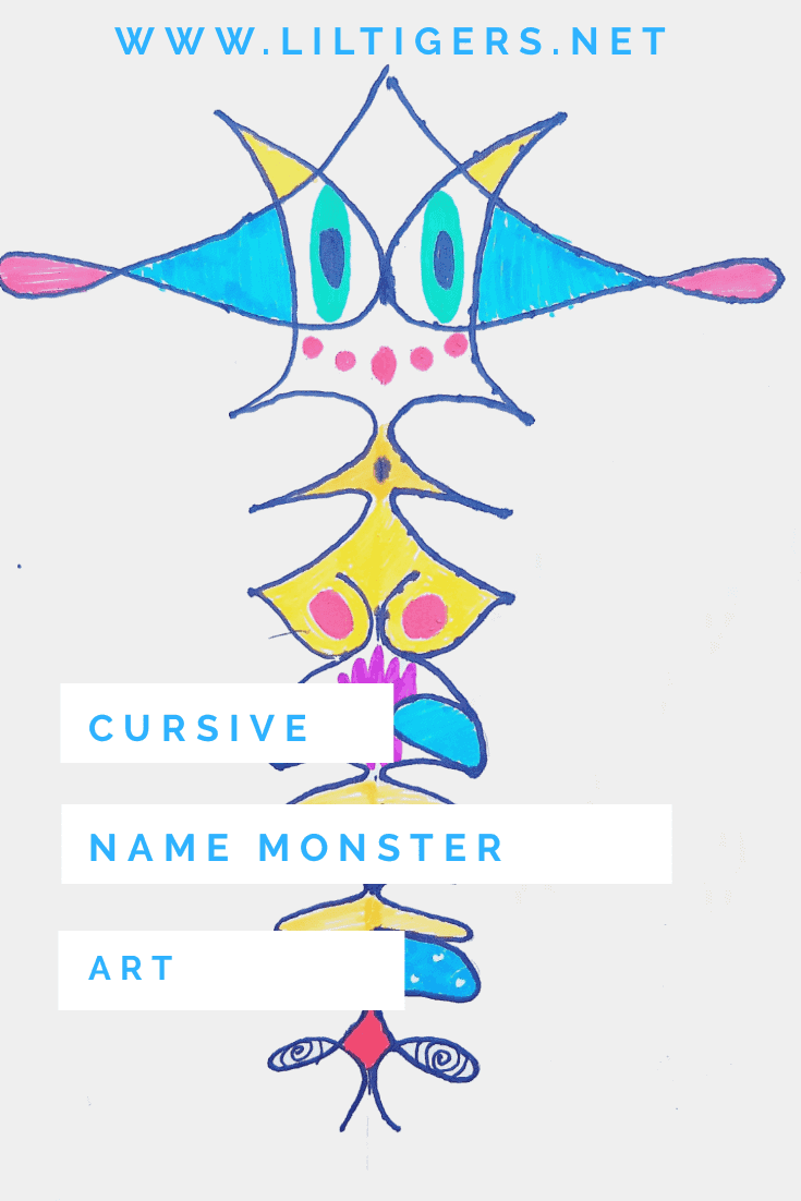 creative cursive name monster art