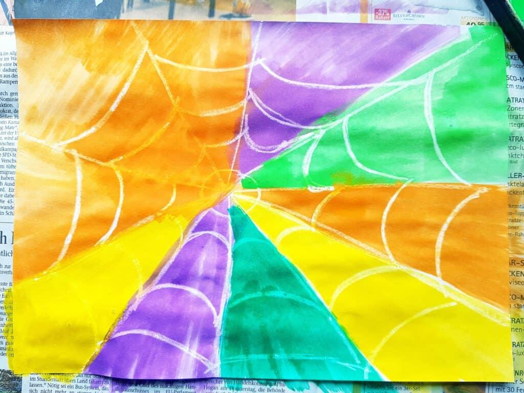 beautiful watercolor spider web art