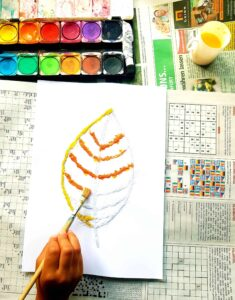 How to make a fun fall salt painting with kids (age 3+)