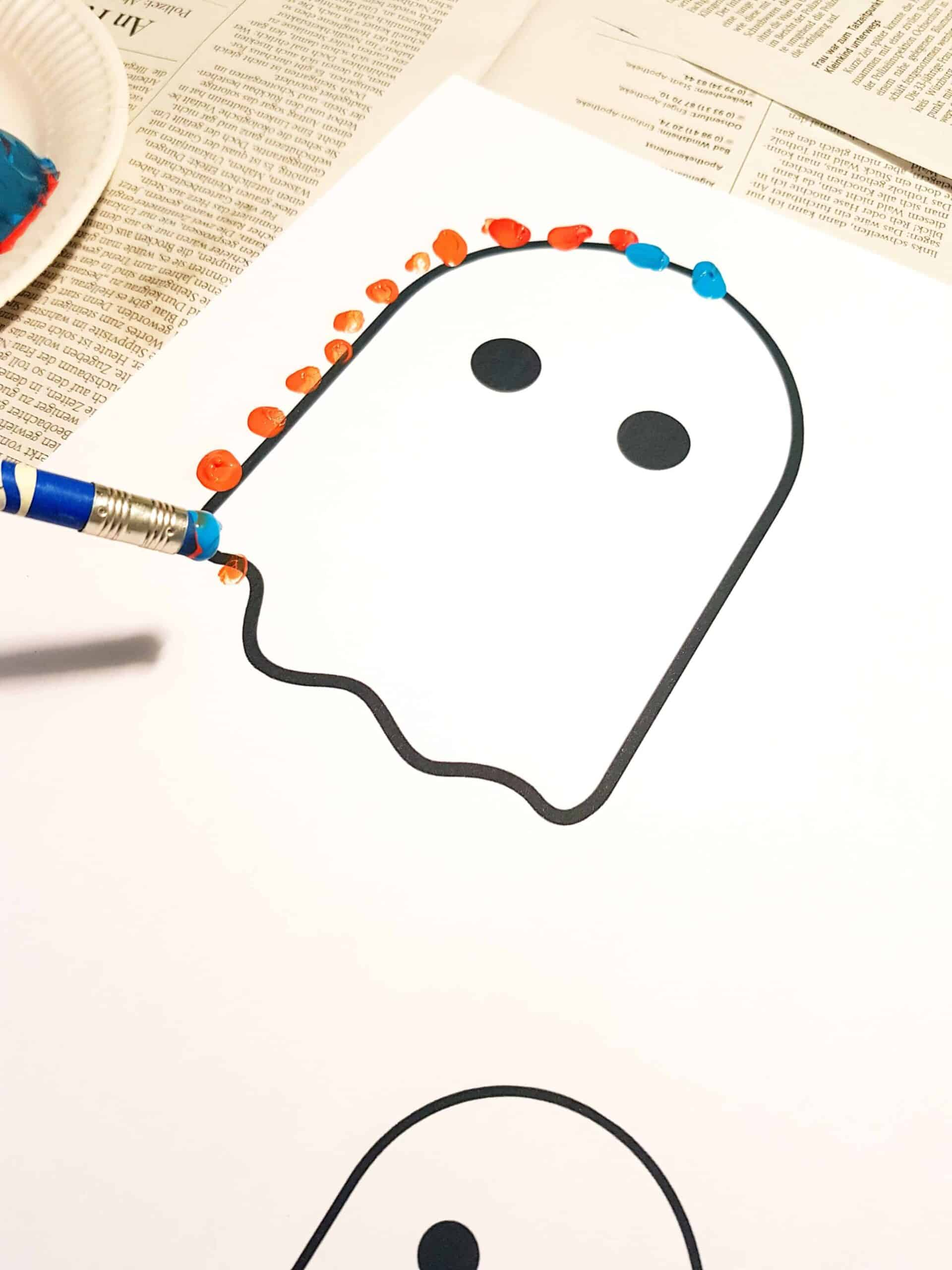Easy Halloween Pencil Stamp Art for Kids