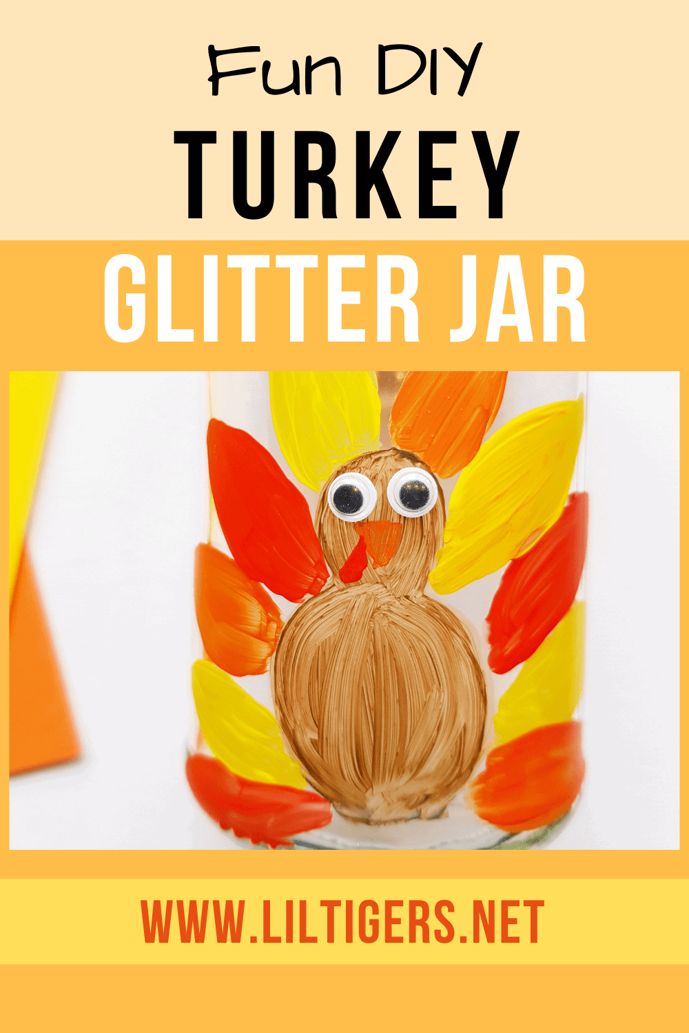 fun diy turkey glitter jar