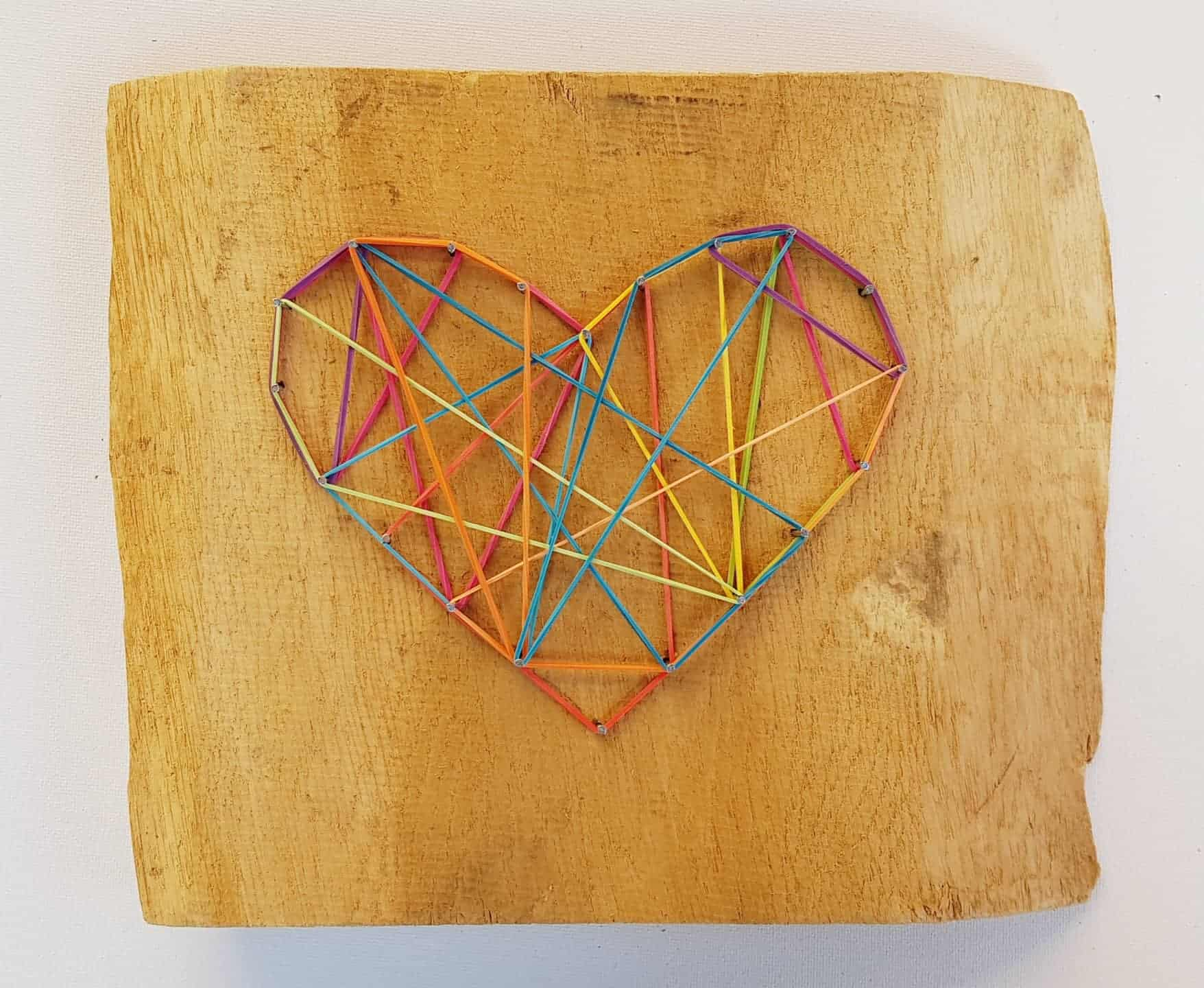 Heart with Nails and rubber bands