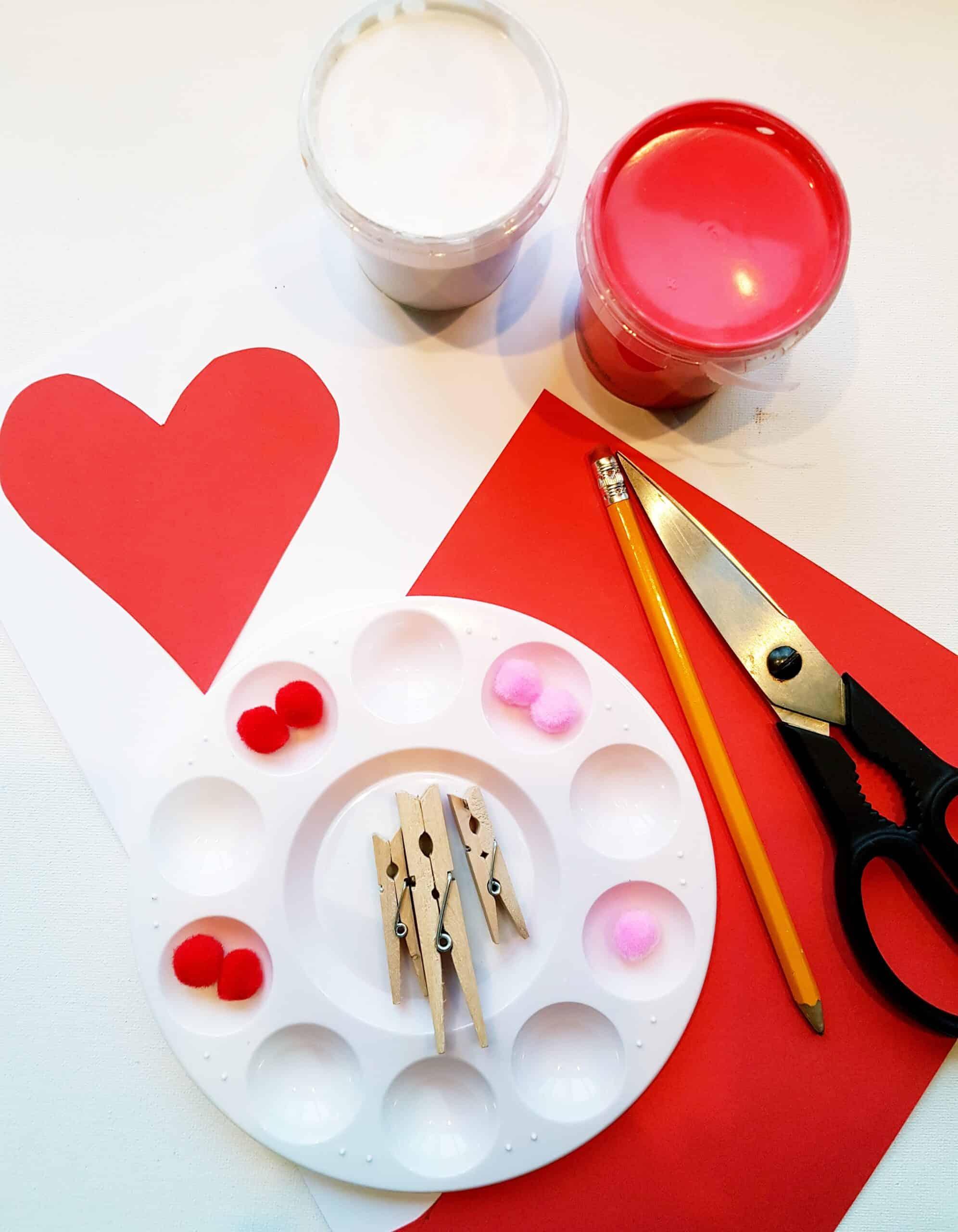 supplies for pom-pom heart art