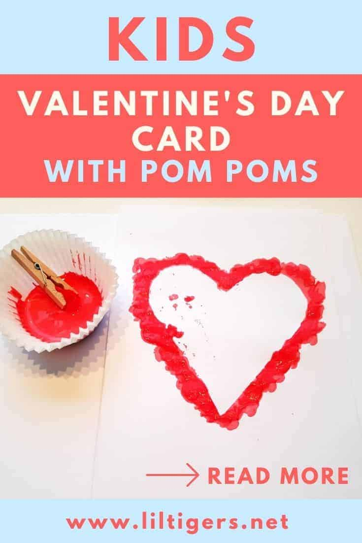 DIY Valentine's day card with pom poms