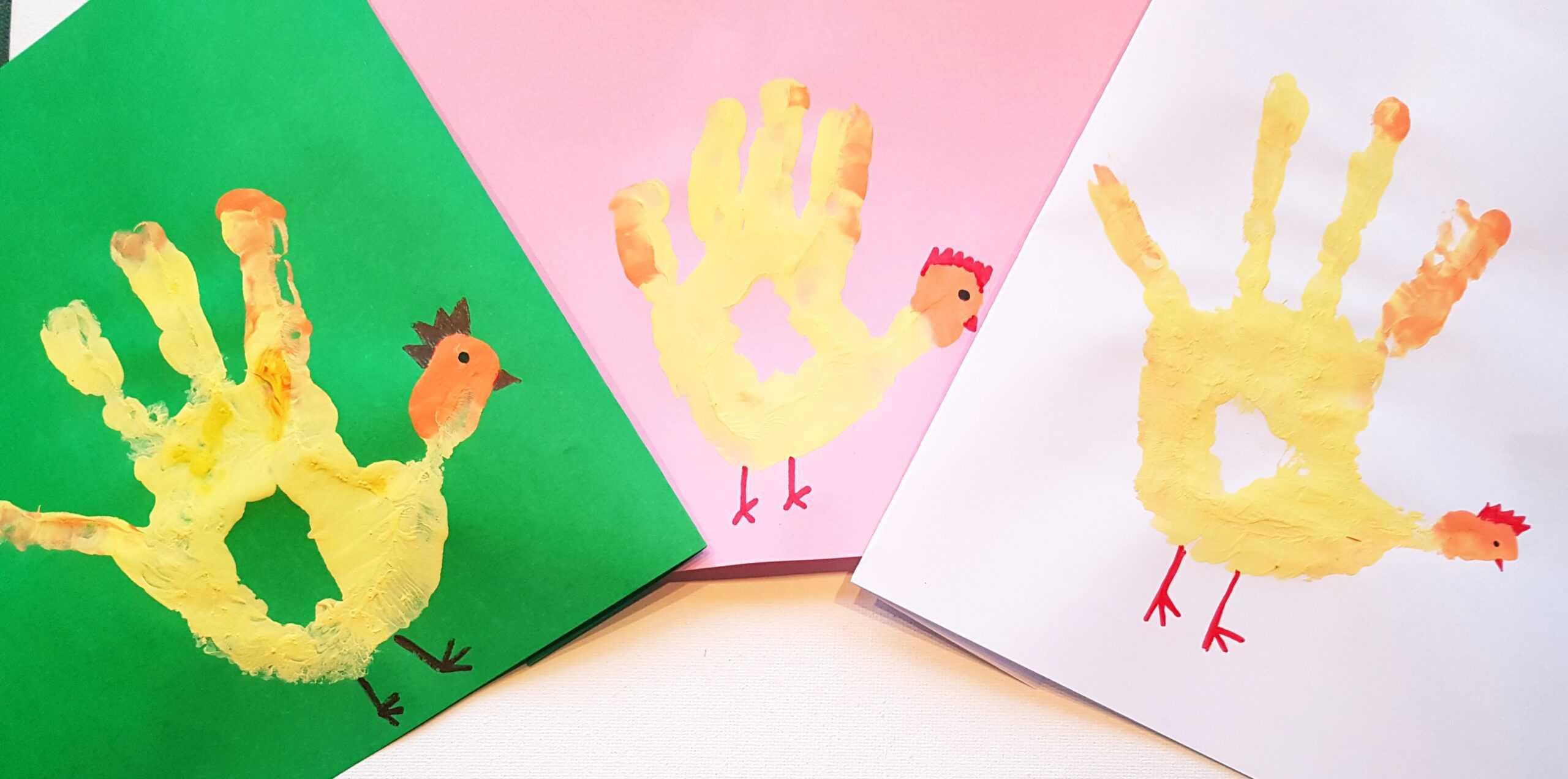 diy handprint chicken art for kids
