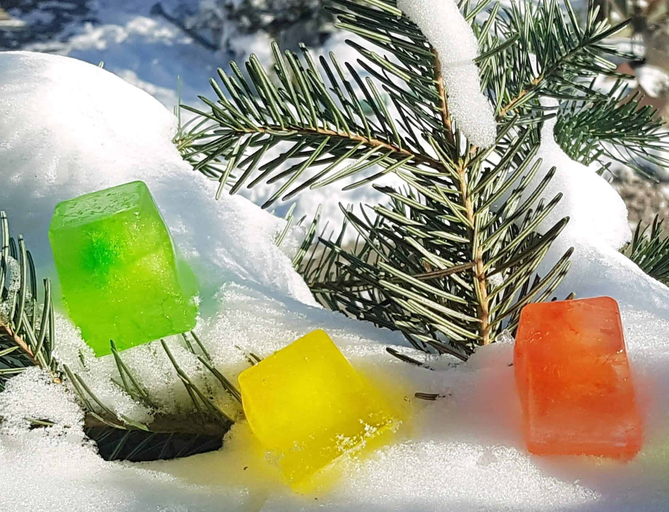 winter scavenger hunt with colored ice cubes