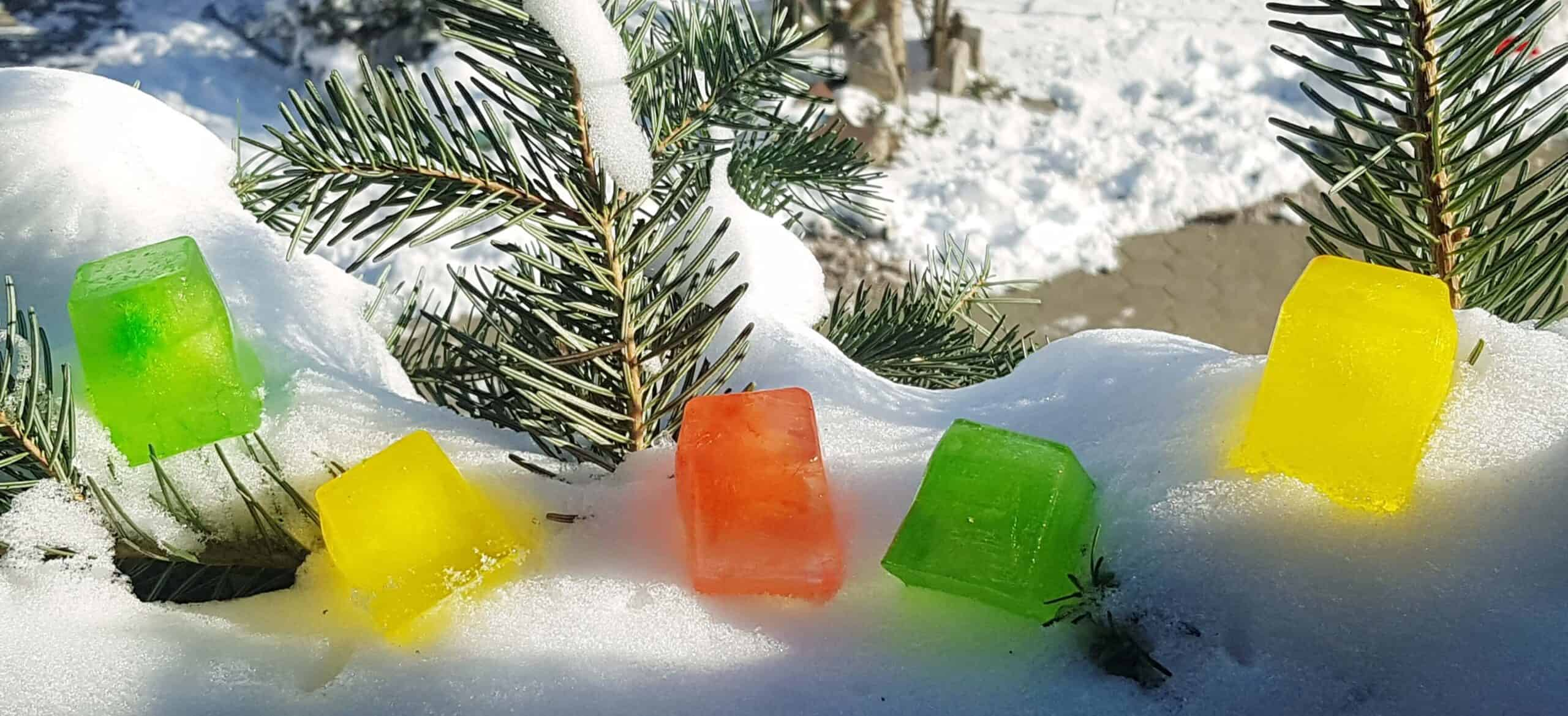 winter scavengerhunt ideas with colored ice cubes