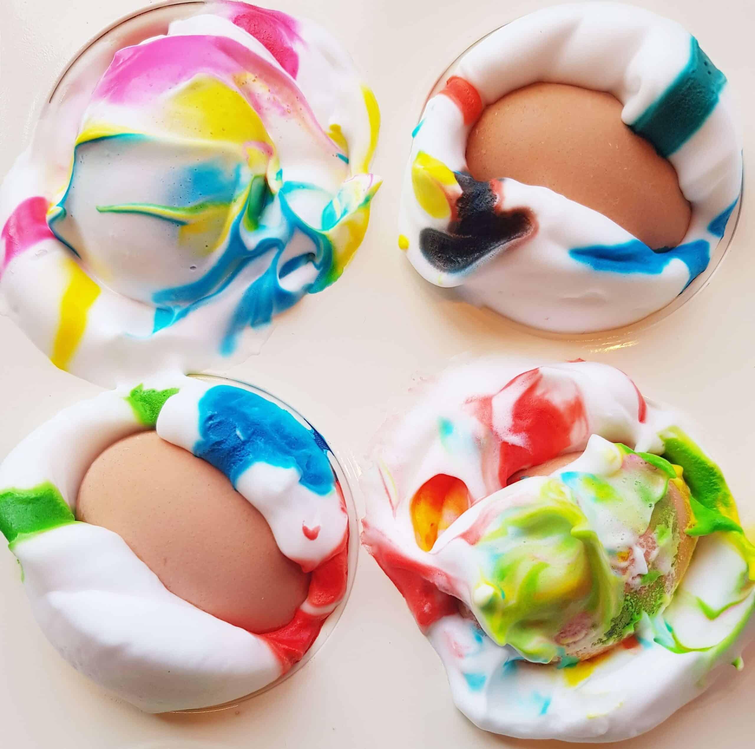 turn eggs in shaving cream