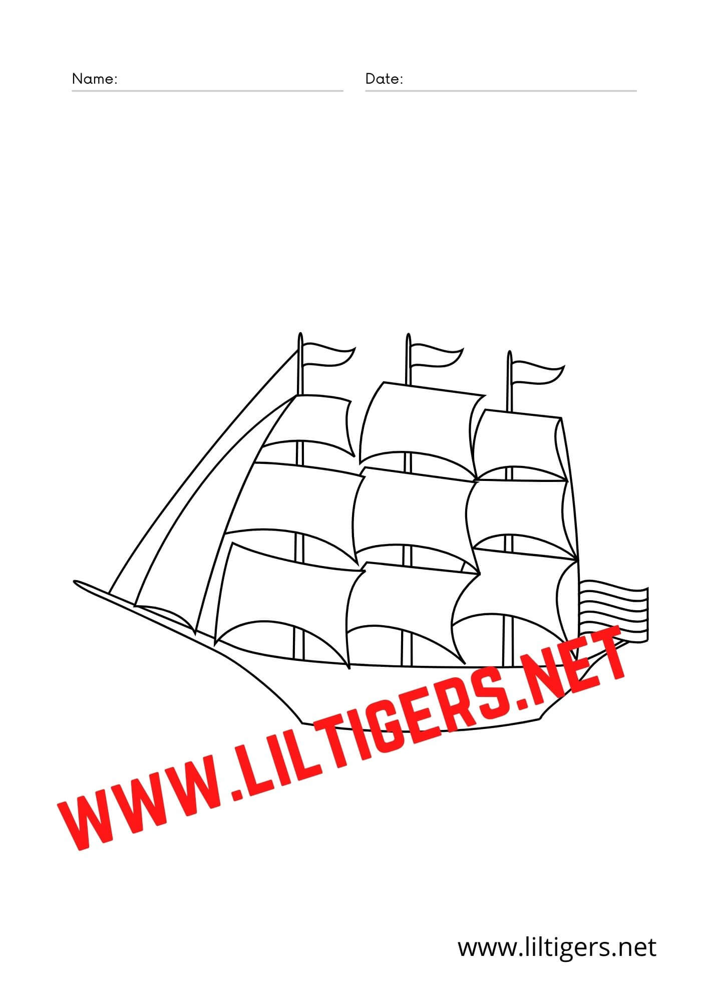 Pirate ship coloring pages free
