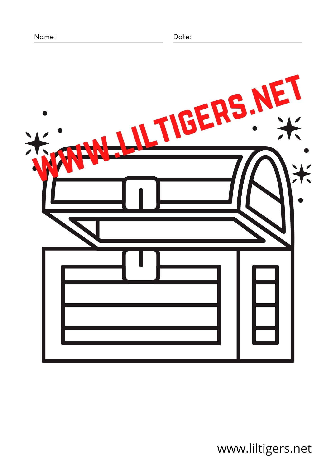 treasure chest coloring pages